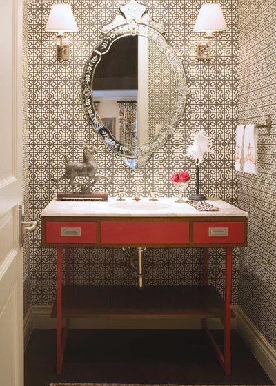 Traditional Powder Room by Andrea Schumacher Interiors