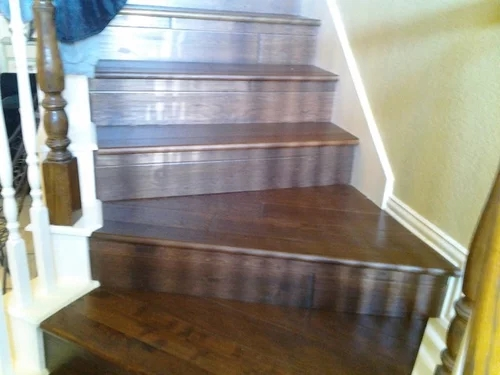 What Type Of Border Needed For Tiling Stairs   Wood And Tile Stairs   Rocell Living Room   Tile Floor   Basement   Quarter Round Stair Hardwood   White
