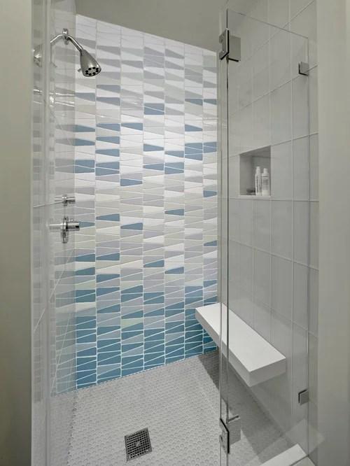 3d Wallpaper Subway Tile White Frameless Glass Shower Enclosure Houzz