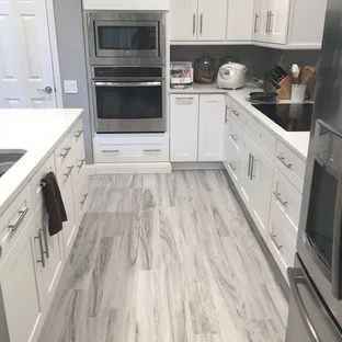 gray kitchen floor diy design grey wood ideas photos houzz mid sized modern eat in inspiration for a