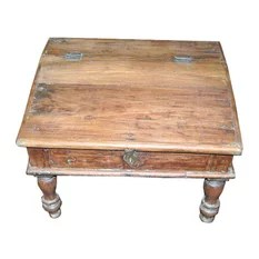 Mogul Interior - Consigned Solid Wooden Munim Chest From India - Wooden handmade munim chest made in solid wood