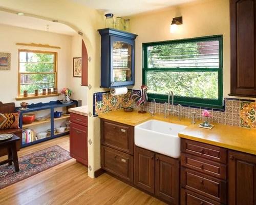 dark walnut kitchen cabinets antique metal cabinet spanish tile backsplash home design ideas, pictures ...