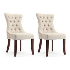 Dining Chairs With Arms Upholstered Shower For Disabled Walmart 50 Most Popular Room 2019 Houzz 1st Avenue Dorchester Natural Linen Tufted Nailhead Trim Set Of 2