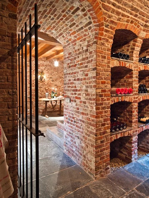 mahogany kitchen island colors of cabinets brick wine cellar home design ideas, pictures, remodel and ...