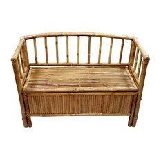 Bamboo Storage Bench with Arms and Hinged Seat Natural