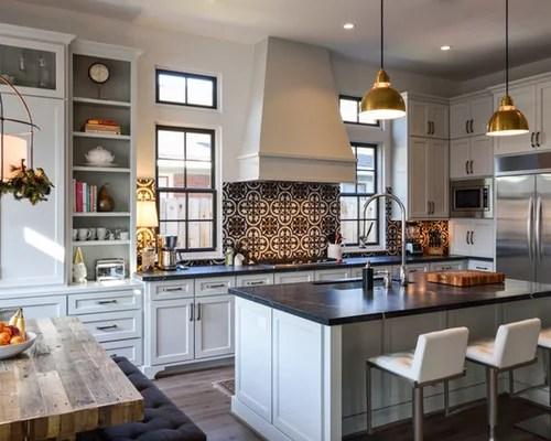 Kitchen With Cement Tile Backsplash Design Ideas & Remodel