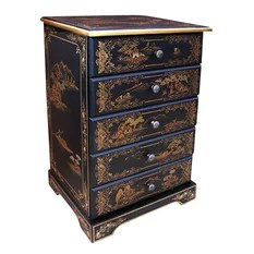 Five Drawer Oriental Lacquer Ware Cabinet