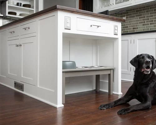 free standing kitchen counter bar height tables dog feeding station | houzz