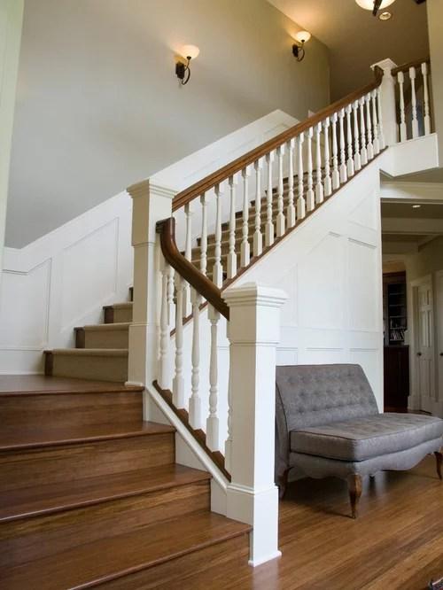 picture frame moulding under chair rail oak landing stair runner   houzz