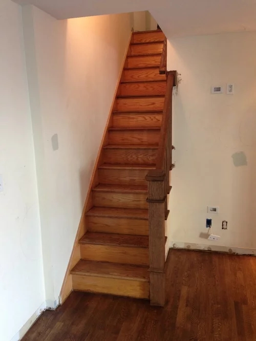 I Would Like Paint The Risers And Side Of Stairs White Theres Polyure   Stained Stairs And Risers   Two Tone   Natural   Bead Board   Gray Painted   Finished