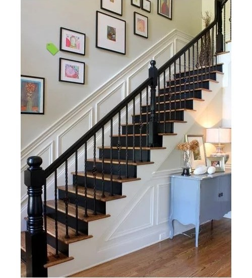Black Painted Balusters Stained Handrail Looking For Pics   White Handrails For Stairs Interior   Grey Treads   Safety   Richard Burbidge   Ship Lap   Aluminum