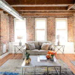 Formal Living Room With Brick Fireplace Purple Set 75 Most Popular Industrial A Design Example Of An Urban And Enclosed Medium Tone Wood Floor Brown