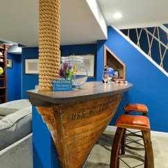 Dark Blue Kitchen Cabinets Floor Tile For Boat Bar | Houzz