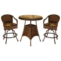 Valencia Resin Wicker/Steel Bar-height Bistro Set (Set of ...