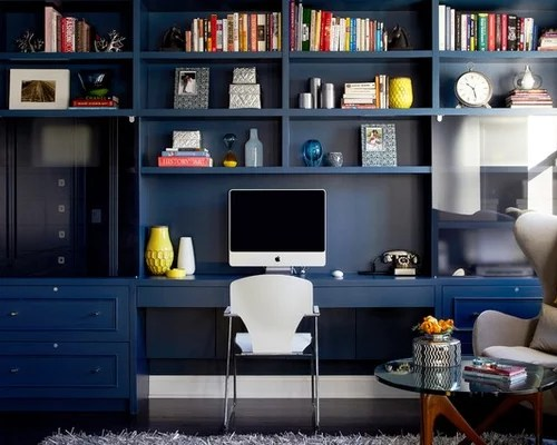 blue leather office chair green upholstered dining chairs computer room design ideas & remodel pictures | houzz