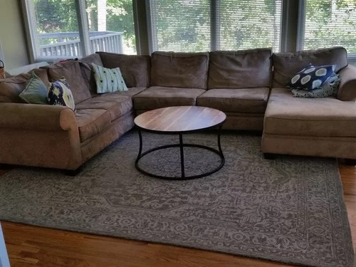 what size rug for living room sectional decorating with brown sofa under a couch the of i bought this one because like colors but now can t decide whether it s big enough any suggestions