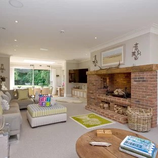 small living room ideas with brick fireplace places to buy furniture red and photos houzz this is an example of a classic open plan in london grey walls