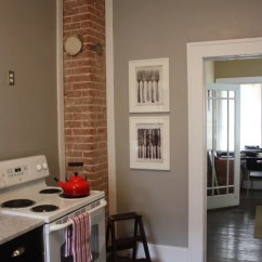 Gray Cabinets Kitchen Lowes Stoves Exposed Brick Chimney Home Design Ideas, Pictures, Remodel ...
