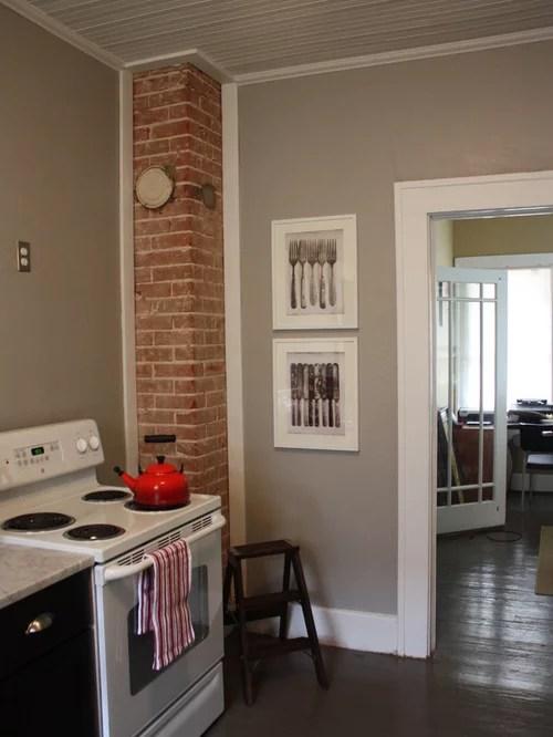 white shaker kitchen cabinets rustic island ideas exposed brick chimney | houzz