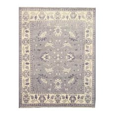 Hand-Knotted Wool Mono Rug Gray 9'x12'