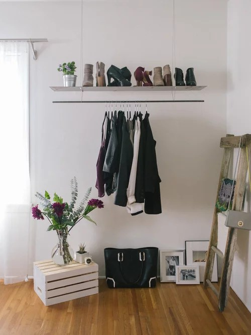 hanging clothes rack bedroom ideas and photos | houzz