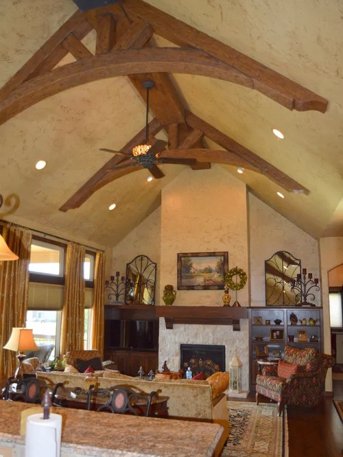 Great Room with Arched Truss Beams