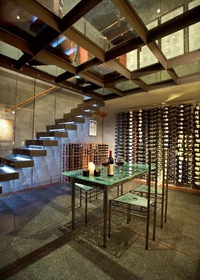 Industrial Wine Cellar by michael wyatt architect ltd