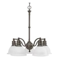 Progress Lighting 5 Light Chandelier Antique Bronze With Etched Bell Shaped Shades