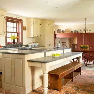 brick floor kitchen sprayer houzz eat in mid sized farmhouse single wall and red