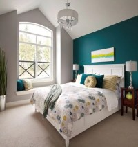 Teal Wall Bedroom Design Ideas, Renovations & Photos