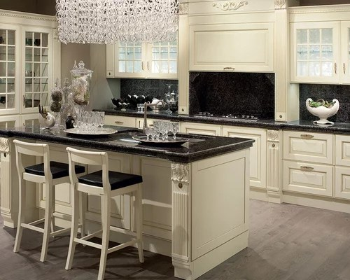 Kitchen Design Ideas Renovations  Photos with Beige Cabinets and Painted Wood Floors
