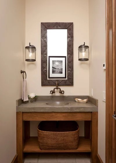 Rustic Powder Room by Snake River Interiors