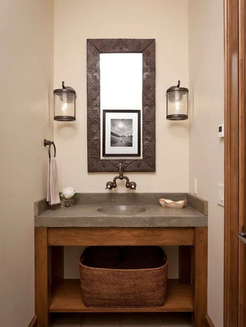 Concrete Countertop Photos Rustic Powder Room Home Design Ideas, Pictures, Remodel