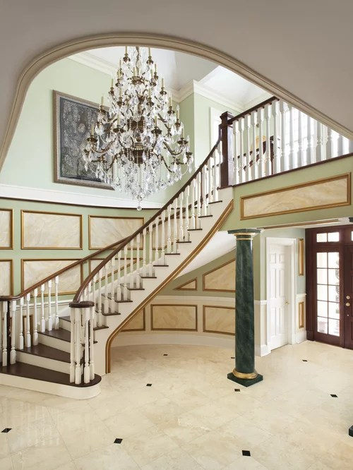 Elegant Wooden Curved Staircase Photo In New York
