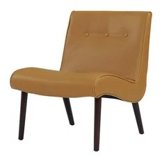 modern slipper chair ergonomic delhi 50 most popular midcentury chairs for 2019 houzz new pacific direct inc alexis bonded leather with wenge legs vintage caramel