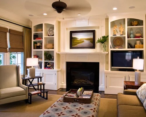 Floating Shelves Next To Fireplace Living Room Beach Style With Rustic Cabinets Gl Overlay Home Decor
