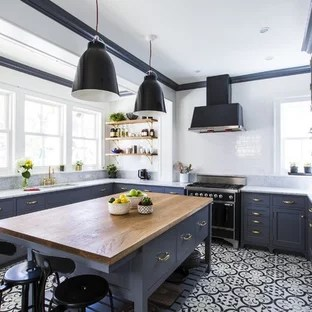 cement tile kitchen antique red cabinets 75 most popular traditional floor design ideas large eat in designs inspiration for a timeless u shaped