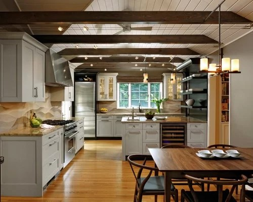 open kitchen with ceiling beams Wood Beam Track Lighting   Houzz