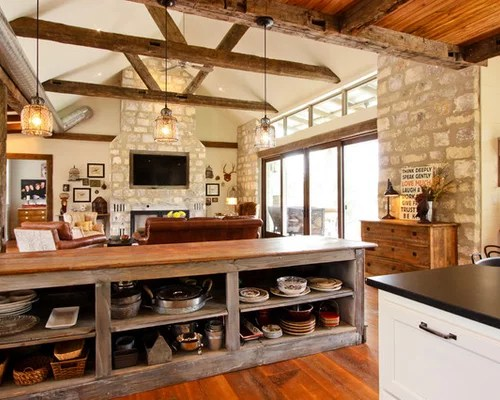 open rustic kitchen cabinets Rustic Kitchen Design Ideas, Renovations & Photos with