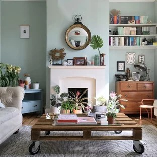 green living room walls swag curtains for 75 most popular with design ideas 2019 small eclectic enclosed medium tone wood floor and brown photo in london