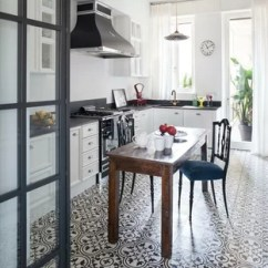 White Kitchen Floor Summit All In One Tile With Cabinets Houzz Mid Sized Farmhouse Eat Designs Inspiration For A