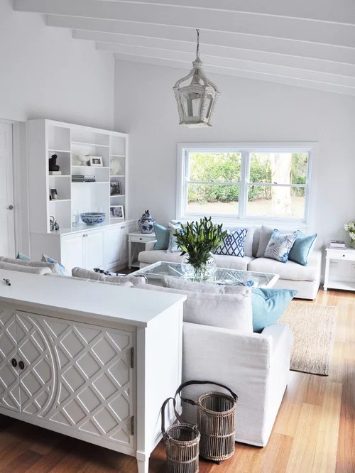 White Kitchen Cabinets With Light Gray Island Hamptons Style | Houzz