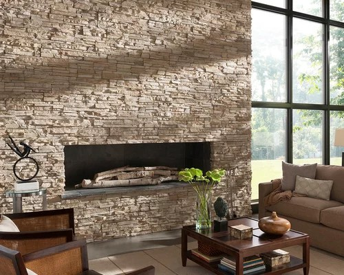 Contemporary Stone Fireplace