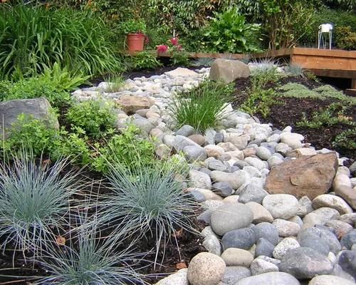 river rock flower beds design ideas