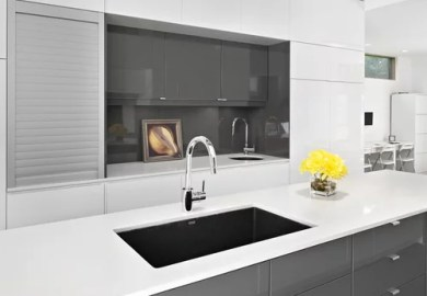 Grey Kitchen Cabinets Black Countertop