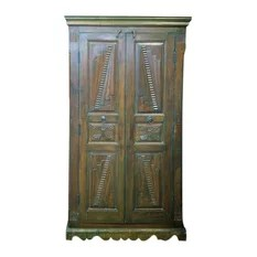 Mogul Interior - Consigned Teak Britsh Colonial Cabinet Bedroom Almira Furniture - A true Armoire from a village just outside of Rajasthan, India.