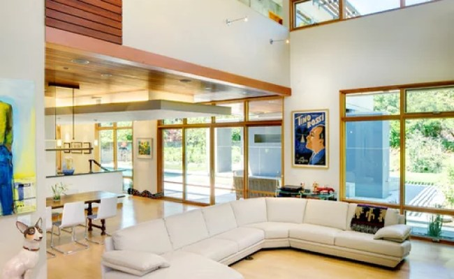 High Ceiling Modern Living Room Houzz