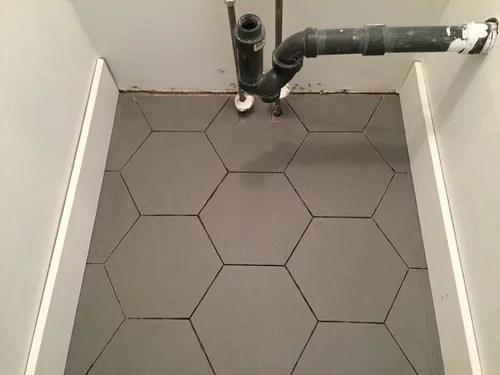 grey hexagon floor dark or light grout