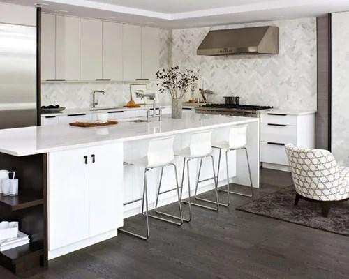 Modern White Kitchen  Houzz