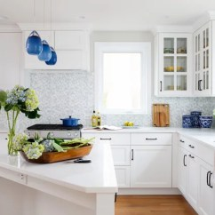 Stainless Steel Trash Can Kitchen Design Dayton Ohio White Cabinets And Blue Accents Brighten A